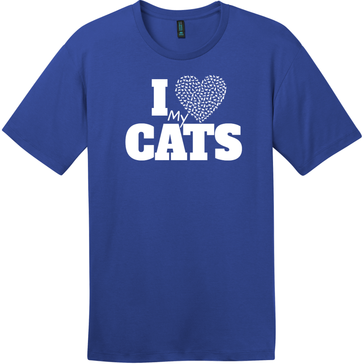 I Love My Cats Heart T-Shirt Deep Royal District Perfect Weight Tee DT104