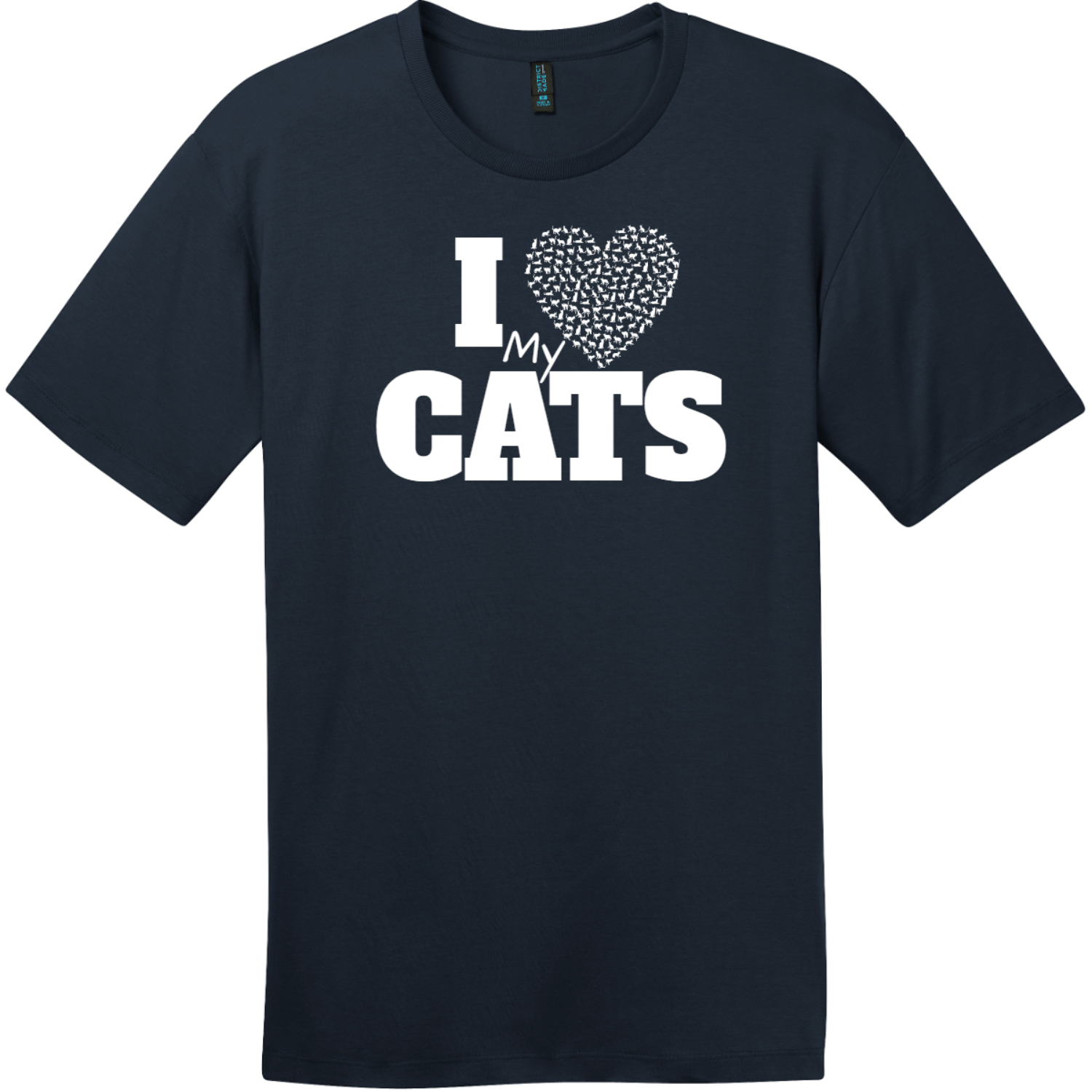 I Love My Cats Heart T-Shirt New Navy District Perfect Weight Tee DT104