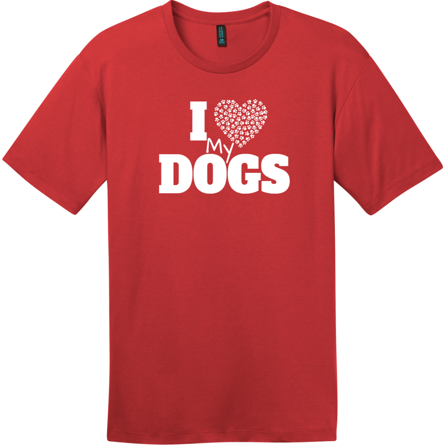 I Love My Dogs Heart T-Shirt Classic Red District Perfect Weight Tee DT104