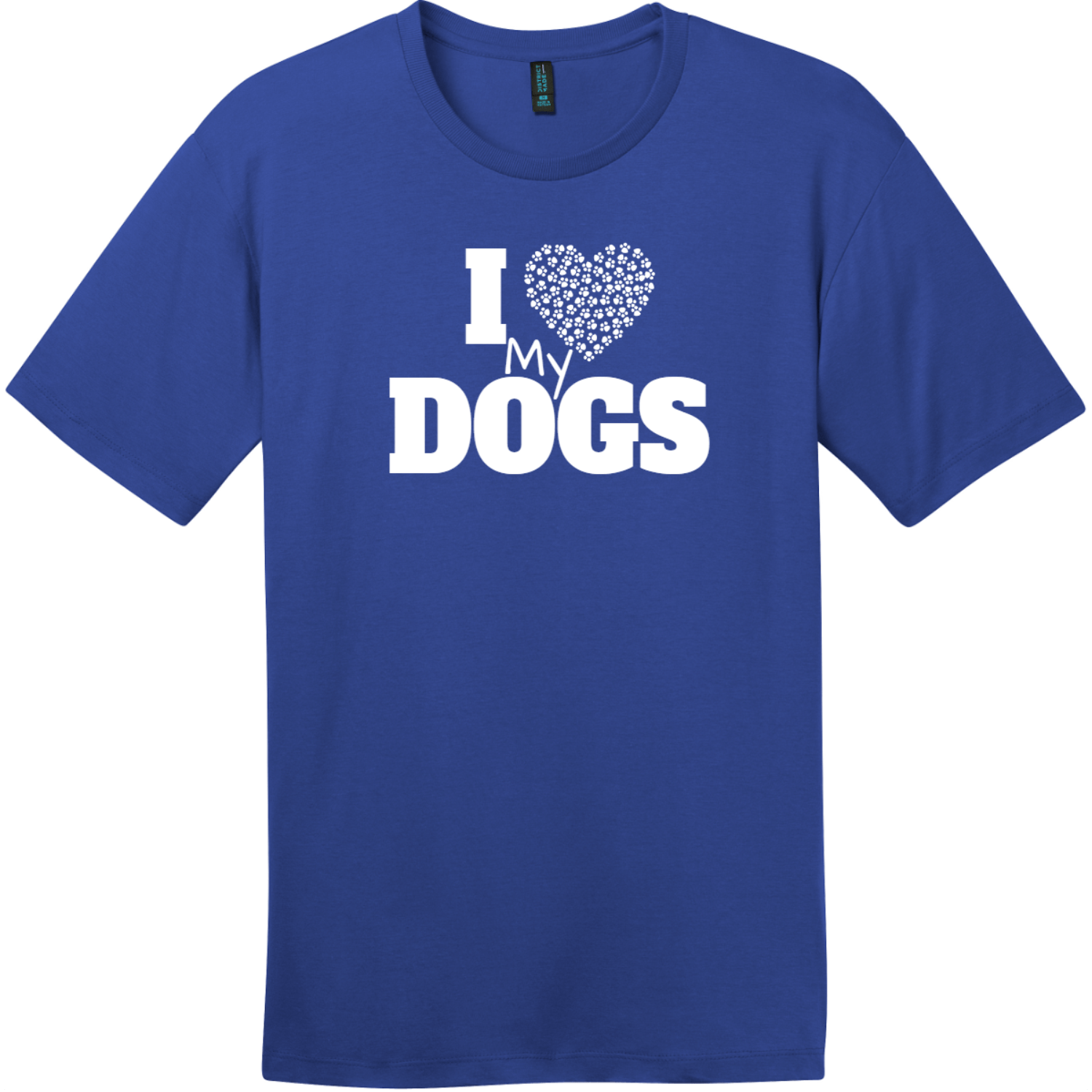 I Love My Dogs Heart T-Shirt Deep Royal District Perfect Weight Tee DT104