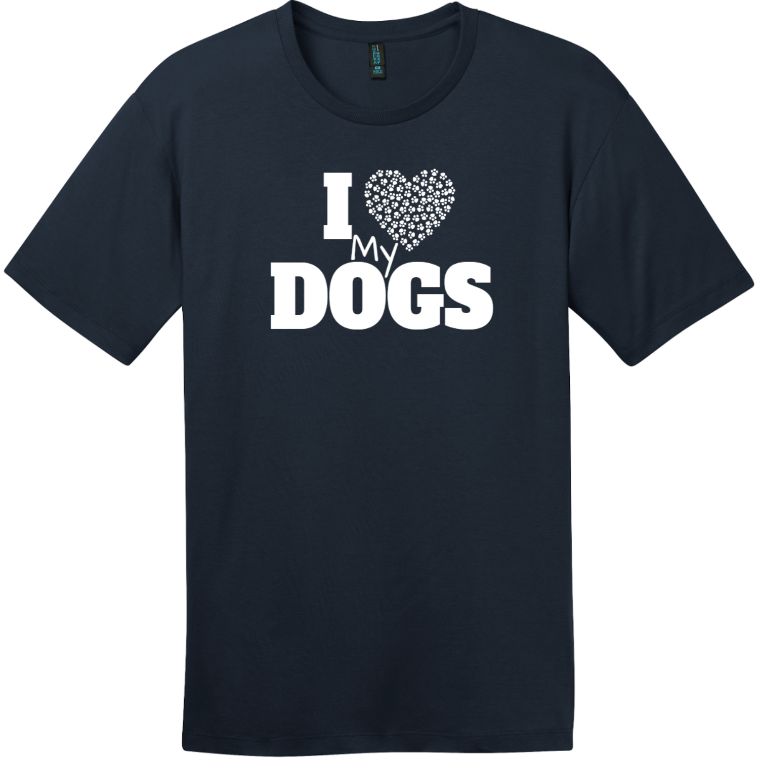 I Love My Dogs Heart T-Shirt New Navy District Perfect Weight Tee DT104