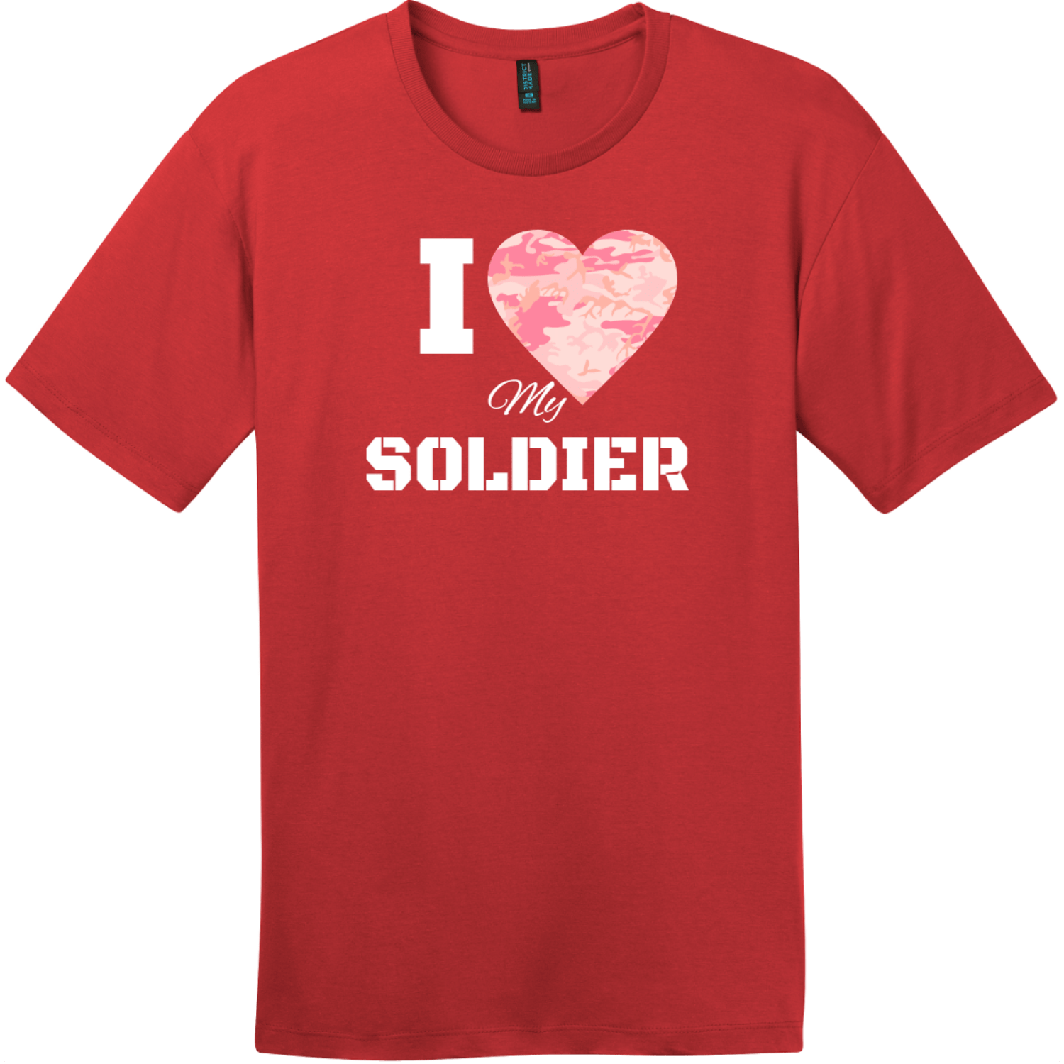 I Love My Soldier Pink Camo Heart T-Shirt Classic Red District Perfect Weight Tee DT104