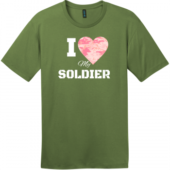 I Love My Soldier Pink Camo Heart T-Shirt Fresh Fatigue District Perfect Weight Tee DT104