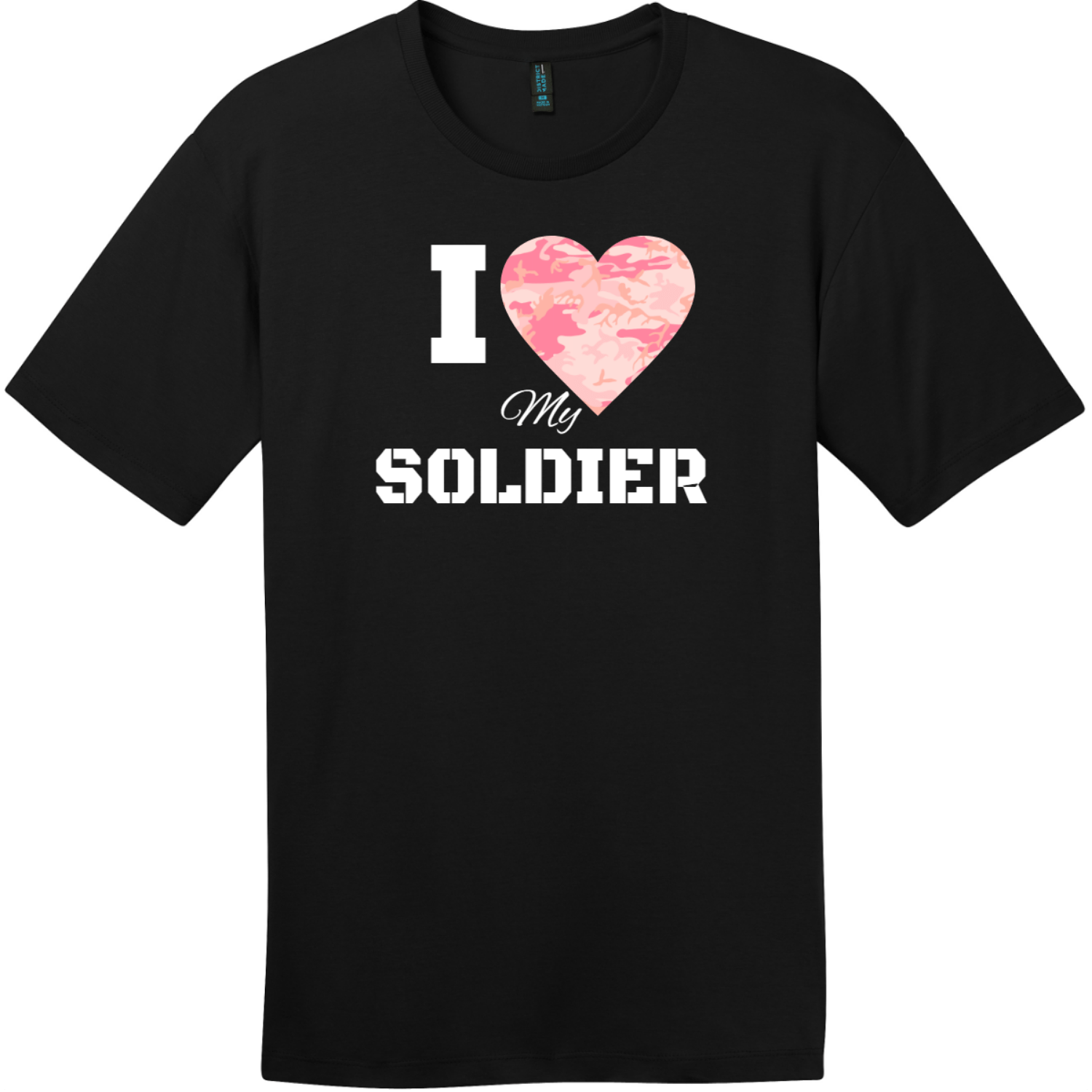 I Love My Soldier Pink Camo Heart T-Shirt Jet Black District Perfect Weight Tee DT104