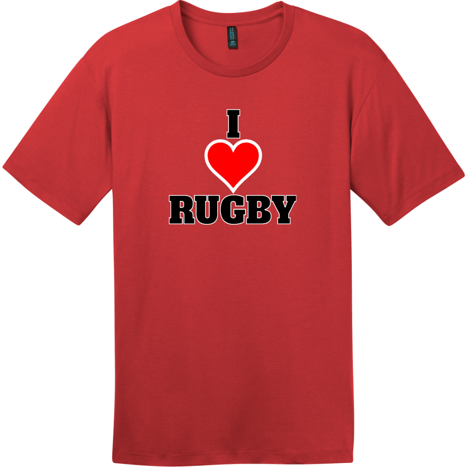 I Love Rugby T-Shirt Classic Red District Perfect Weight Tee DT104