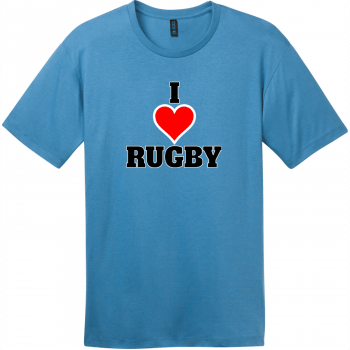 I Love Rugby T-Shirt Clean Denim District Perfect Weight Tee DT104