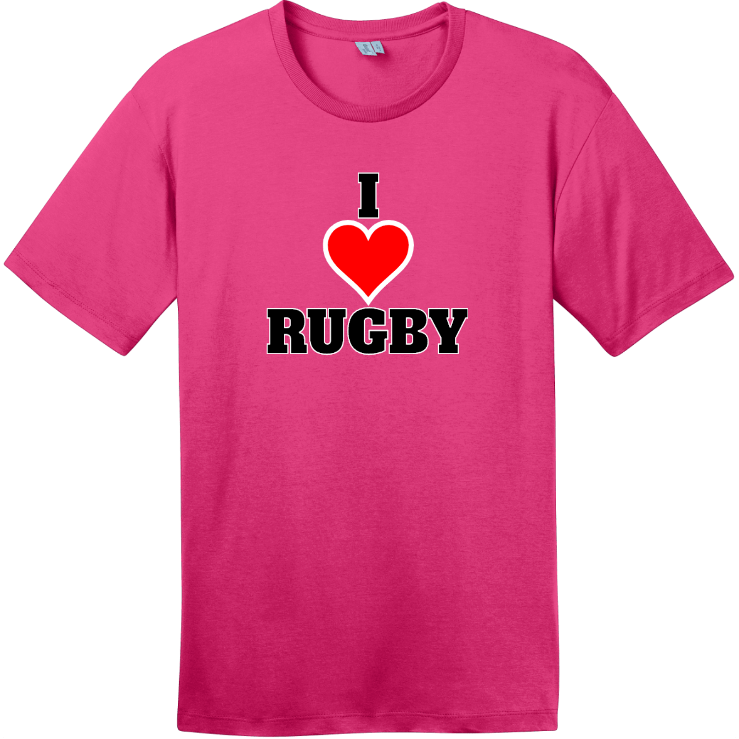 I Love Rugby T-Shirt Dark Fuchsia District Perfect Weight Tee DT104