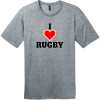I Love Rugby T-Shirt Heathered Steel District Perfect Weight Tee DT104