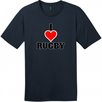 I Love Rugby T-Shirt New Navy District Perfect Weight Tee DT104