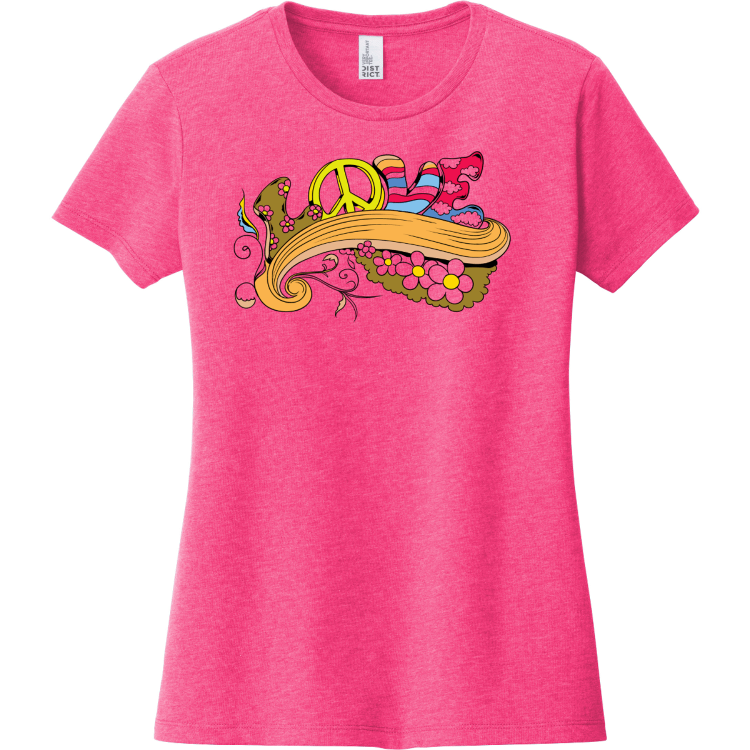 Love Peace T-Shirt For Women Fuchsia Frost District Women's Very Important Tee DT6002