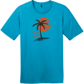 Marco Island Florida Palm Tree T-Shirt Bright Turquoise District Perfect Weight Tee DT104