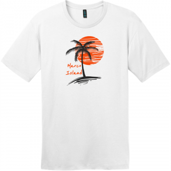 Marco Island Florida Palm Tree T-Shirt Bright White District Perfect Weight Tee DT104