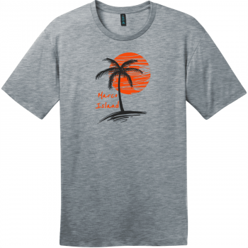 Marco Island Florida Palm Tree T-Shirt Heathered Steel District Perfect Weight Tee DT104