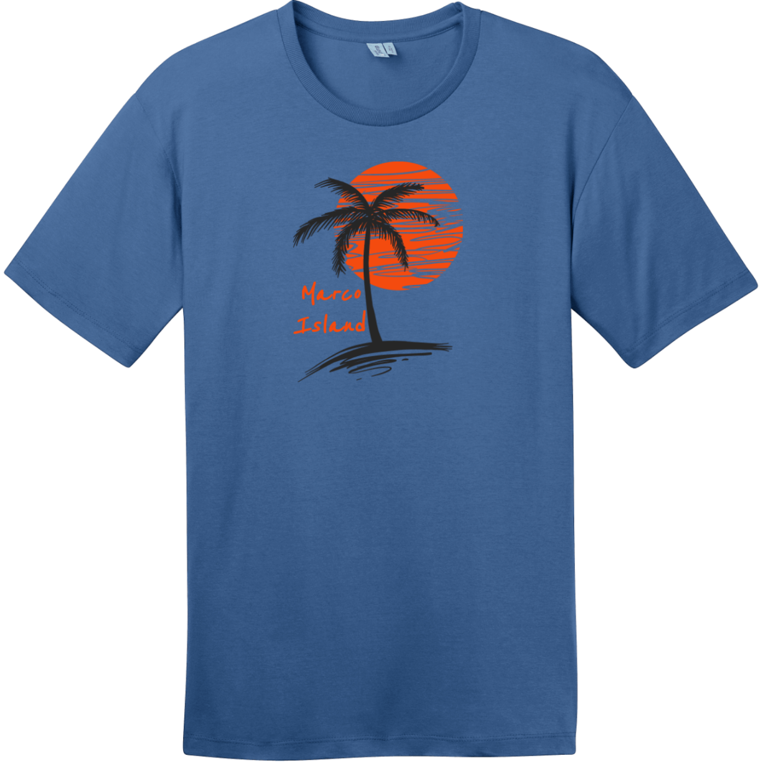 Marco Island Florida Palm Tree T-Shirt Maritime Blue District Perfect Weight Tee DT104