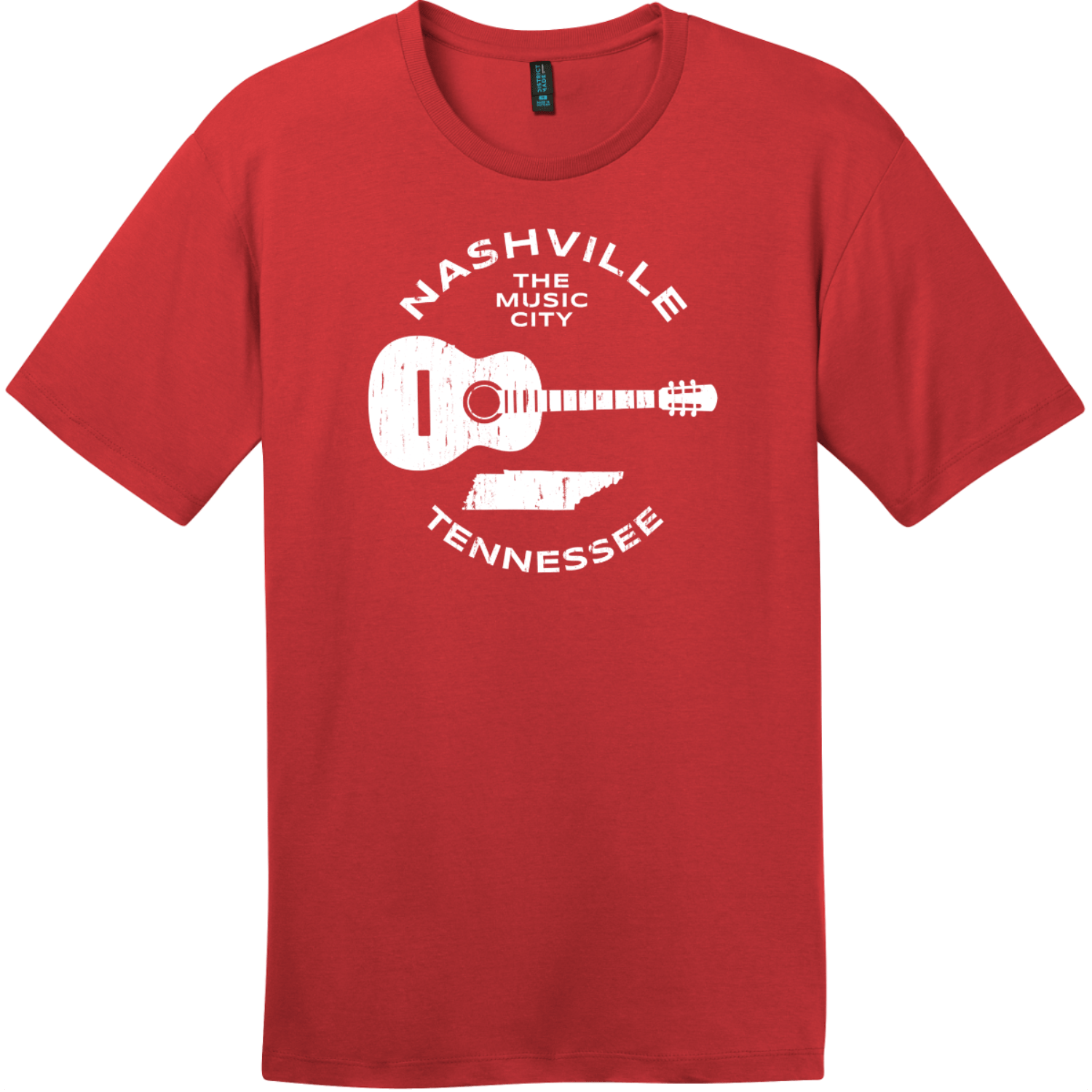 Nashville Tennessee Music City Guitar T-Shirt Classic Red District Perfect Weight Tee DT104