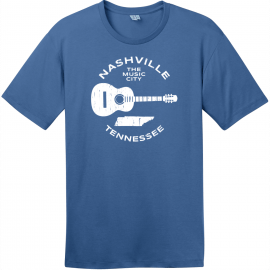 Nashville Tennessee Music City Guitar T-Shirt Maritime Blue District Perfect Weight Tee DT104