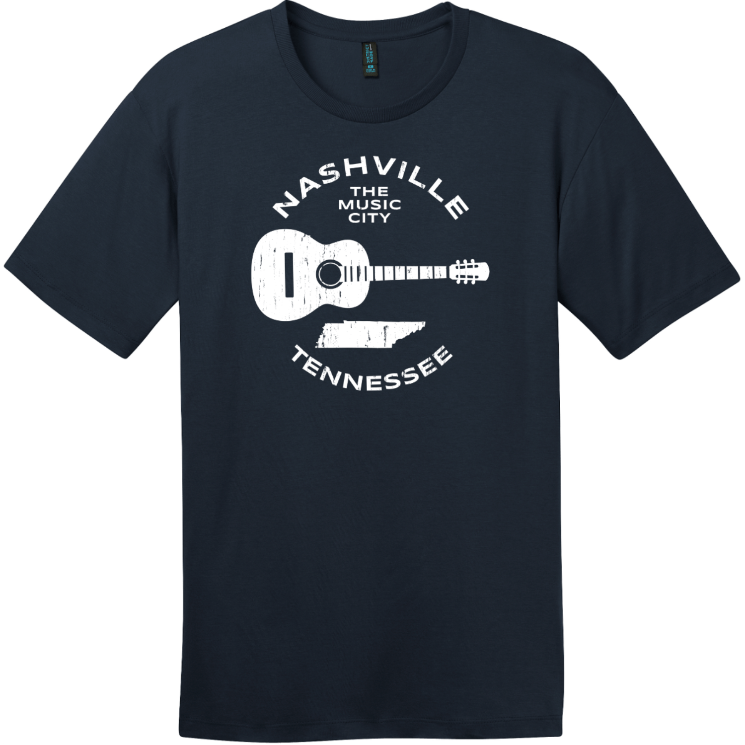 Nashville Tennessee Music City Guitar T-Shirt New Navy District Perfect Weight Tee DT104