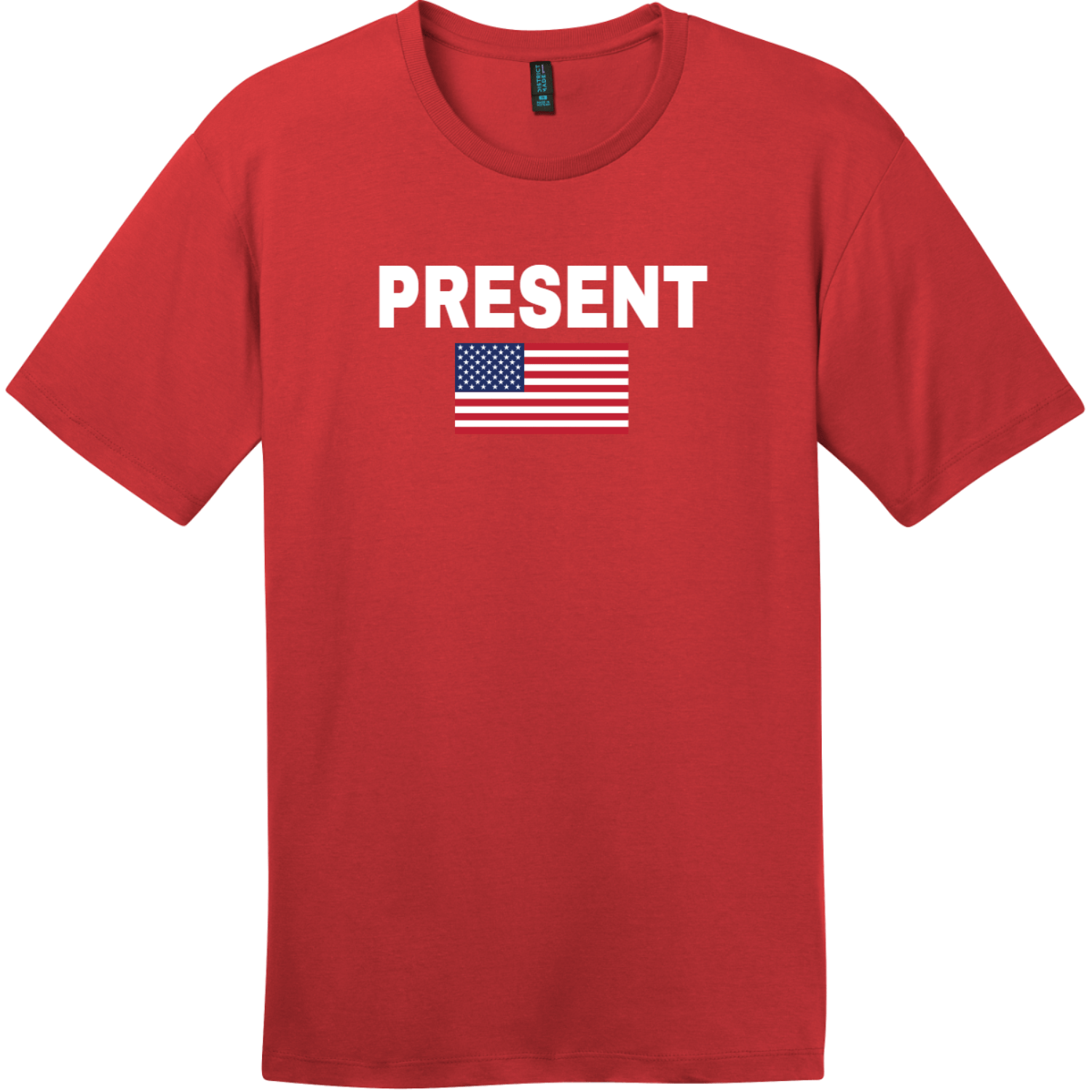 Present Vote American Flag T-Shirt Classic Red District Perfect Weight Tee DT104