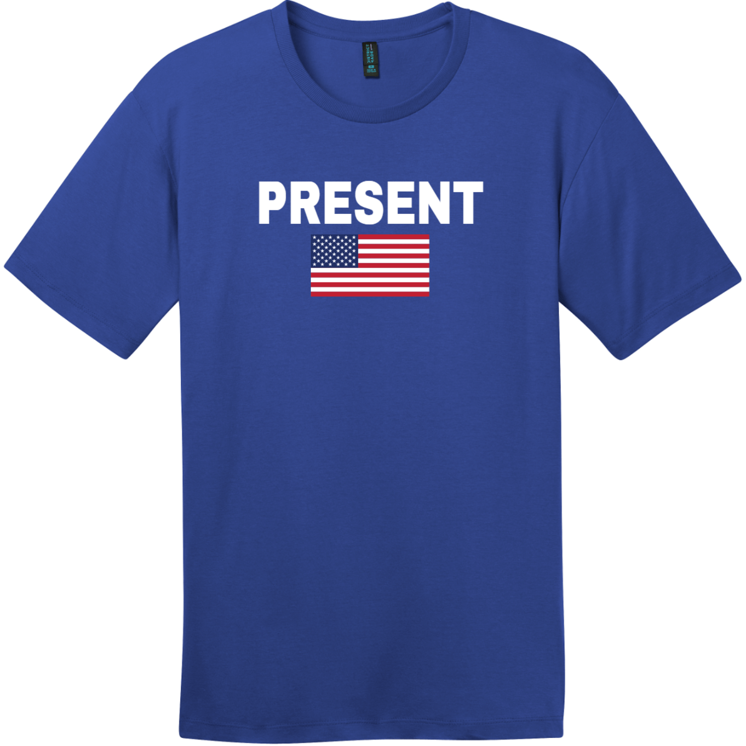 Present Vote American Flag T-Shirt Deep Royal District Perfect Weight Tee DT104