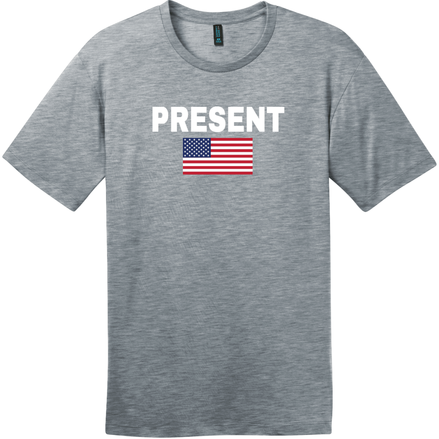 Present Vote American Flag T-Shirt Heathered Steel District Perfect Weight Tee DT104