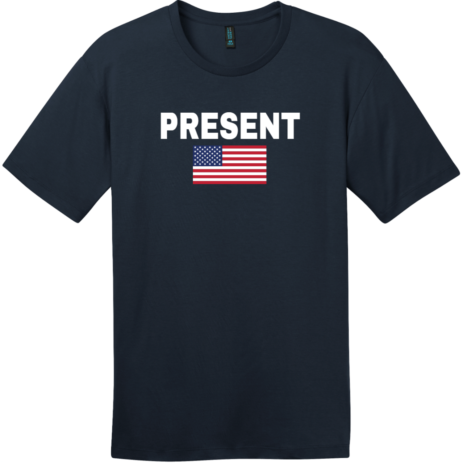 Present Vote American Flag T-Shirt New Navy District Perfect Weight Tee DT104