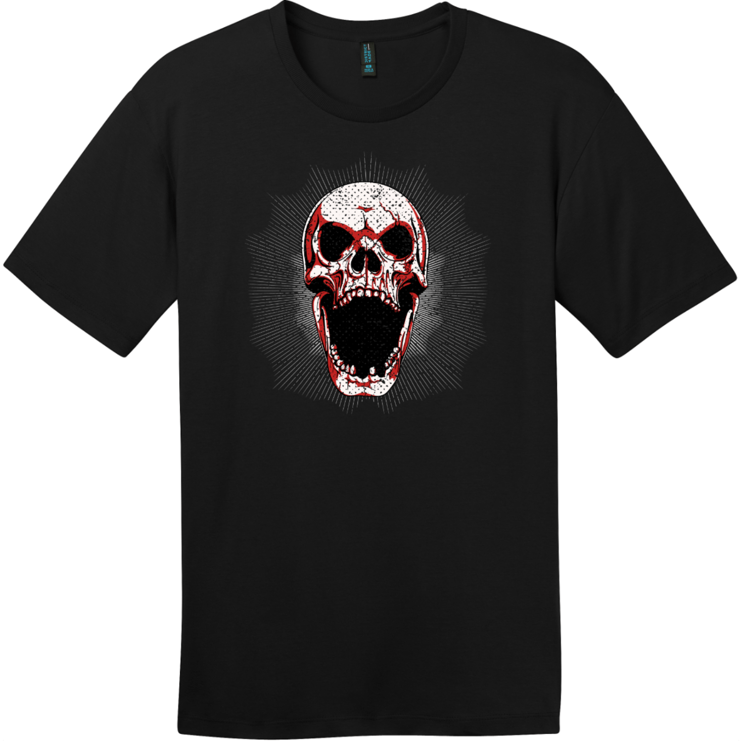 Screaming Grunge Skull T-Shirt Jet Black District Perfect Weight Tee DT104