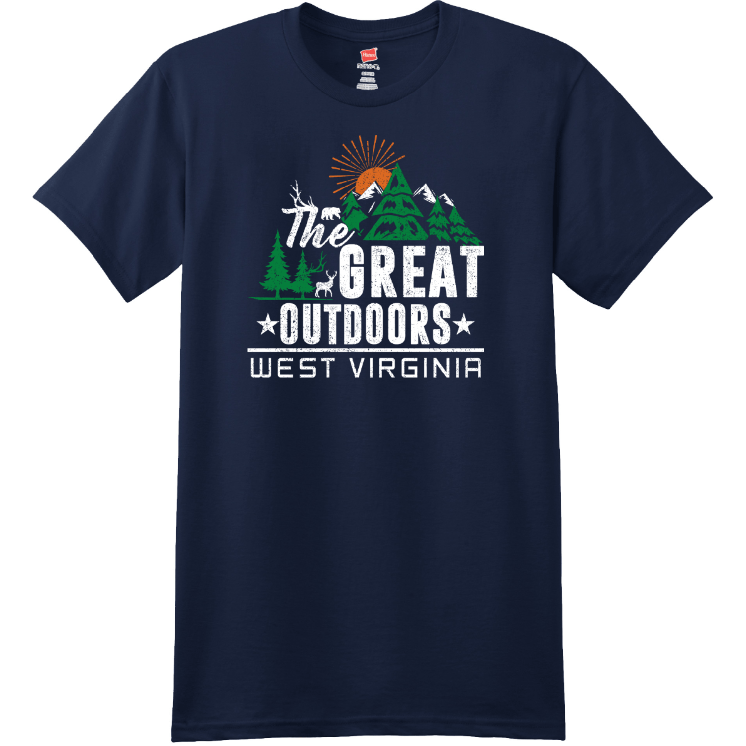 The Great Outdoors West Virginia T-Shirt Navy Hanes Nano 4980 Ringspun Cotton T Shirt