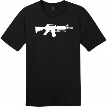 AR-15 Gun T-Shirt Jet Black District Perfect Weight Tee DT104