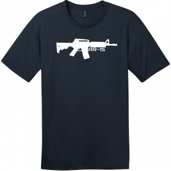 AR-15 Gun T-Shirt New Navy District Perfect Weight Tee DT104