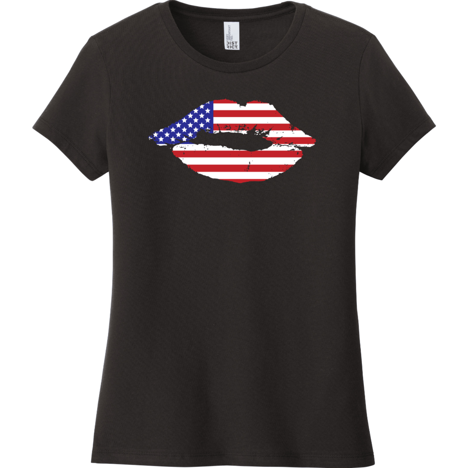American Flag Lips T-Shirt For Women Black District Women's Very Important Tee DT6002