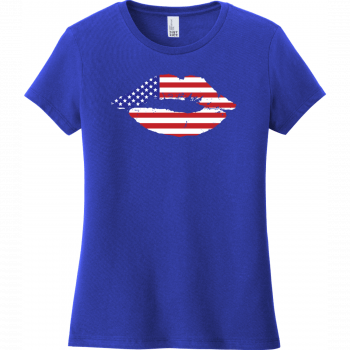 American Flag Lips T-Shirt For Women Deep Royal District Women's Very Important Tee DT6002