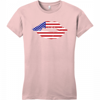 American Flag Lips T-Shirt For Women Dusty Lavender District Women's Very Important Tee DT6002