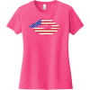 American Flag Lips T-Shirt For Women Fuchsia Frost District Women's Very Important Tee DT6002