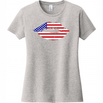 American Flag Lips T-Shirt For Women Light Heather Gray District Women's Very Important Tee DT6002