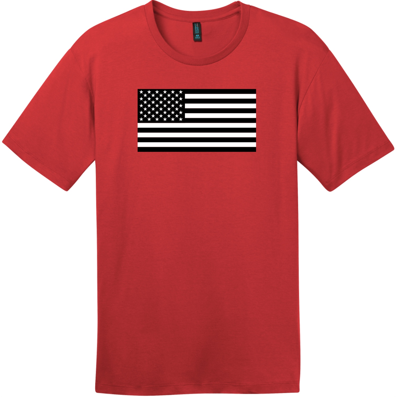 Black And White American Flag T-Shirt Classic Red District Perfect Weight Tee DT104