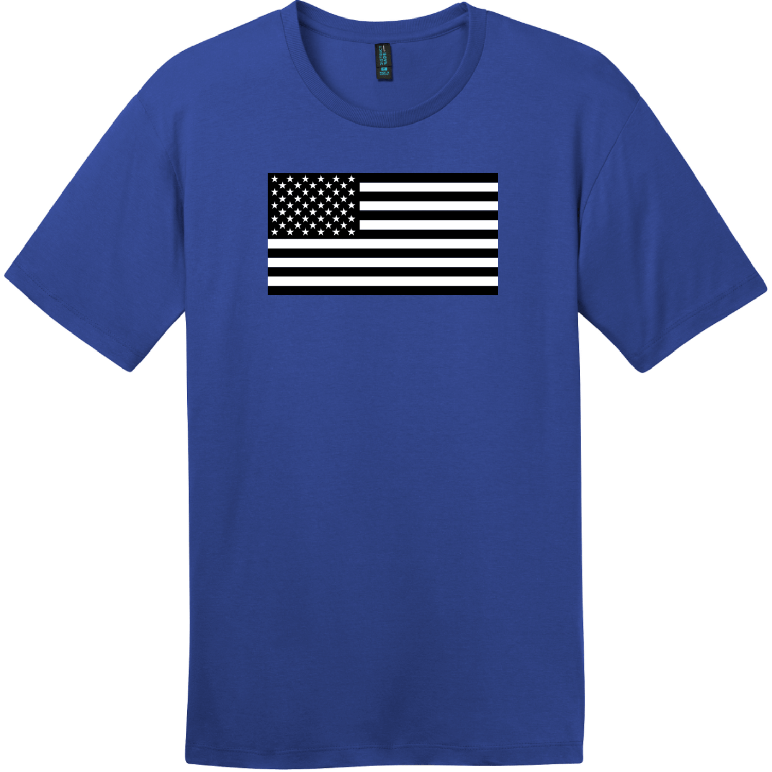 Black And White American Flag T-Shirt Deep Royal District Perfect Weight Tee DT104