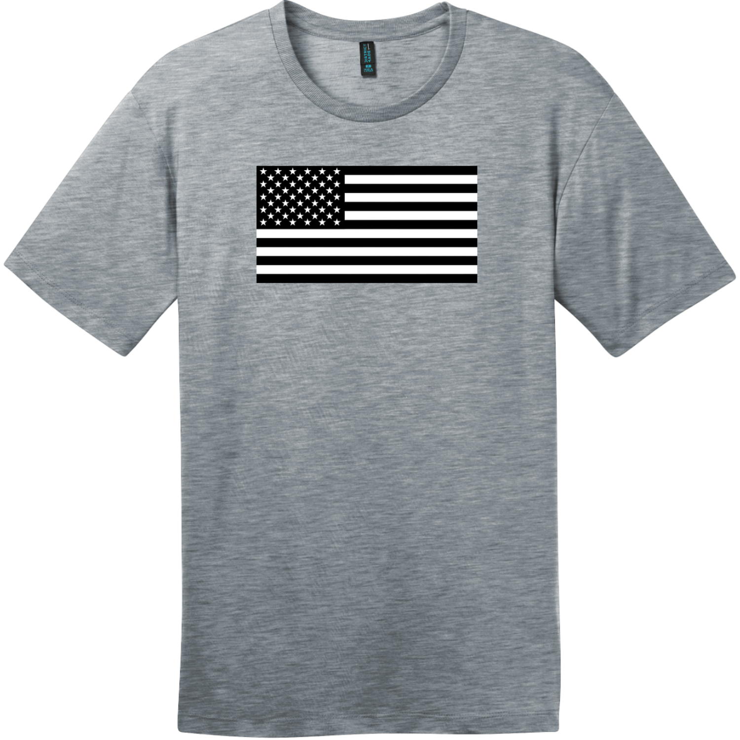 Black And White American Flag T-Shirt Heathered Steel District Perfect Weight Tee DT104