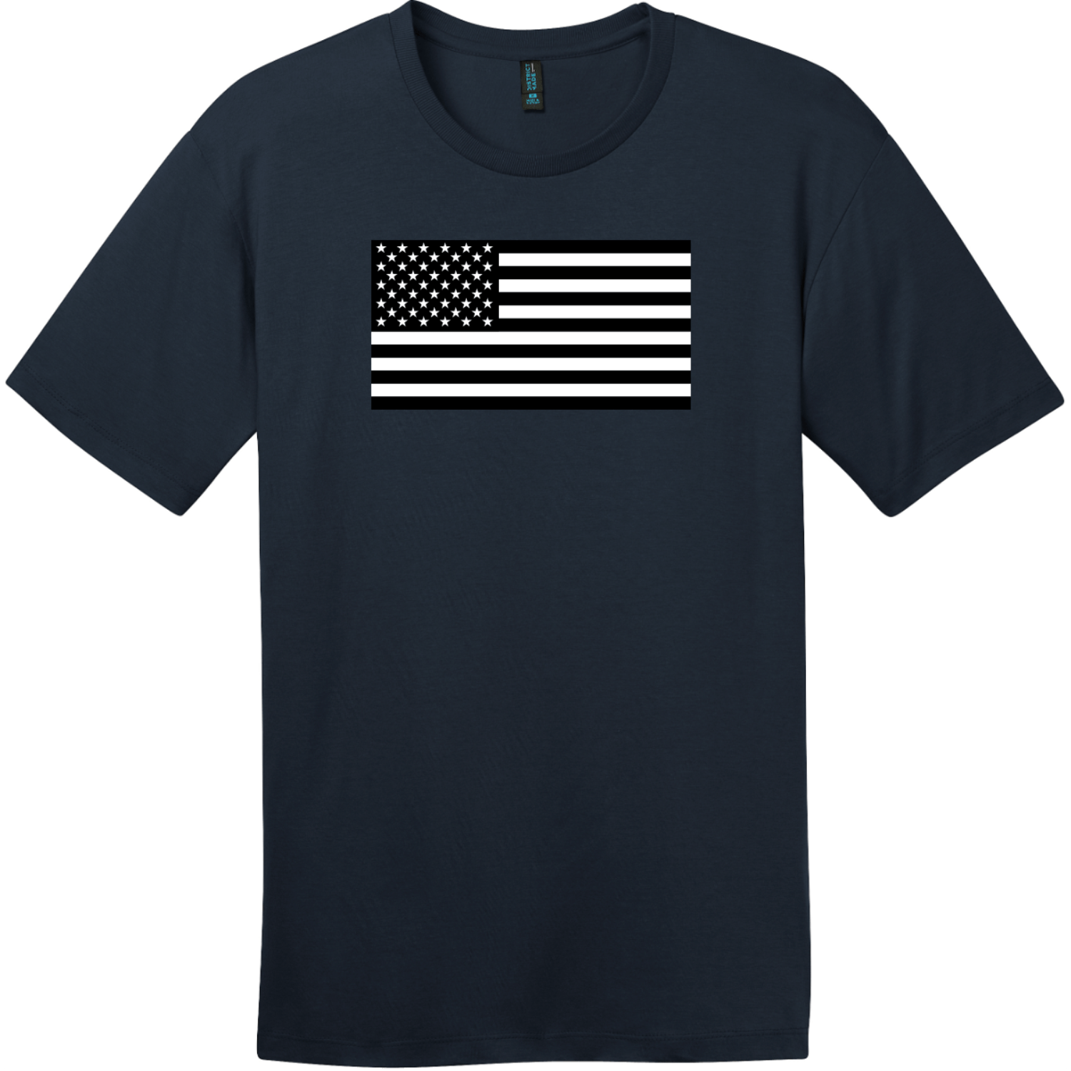 Black And White American Flag T-Shirt New Navy District Perfect Weight Tee DT104
