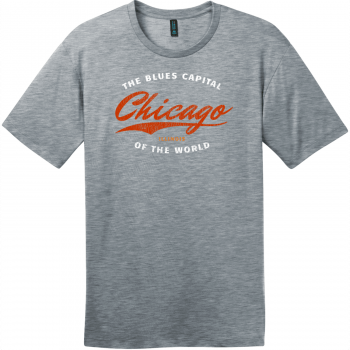 Chicago Illinois Blues Capital Of The World T-Shirt Heathered Steel District Perfect Weight Tee DT104