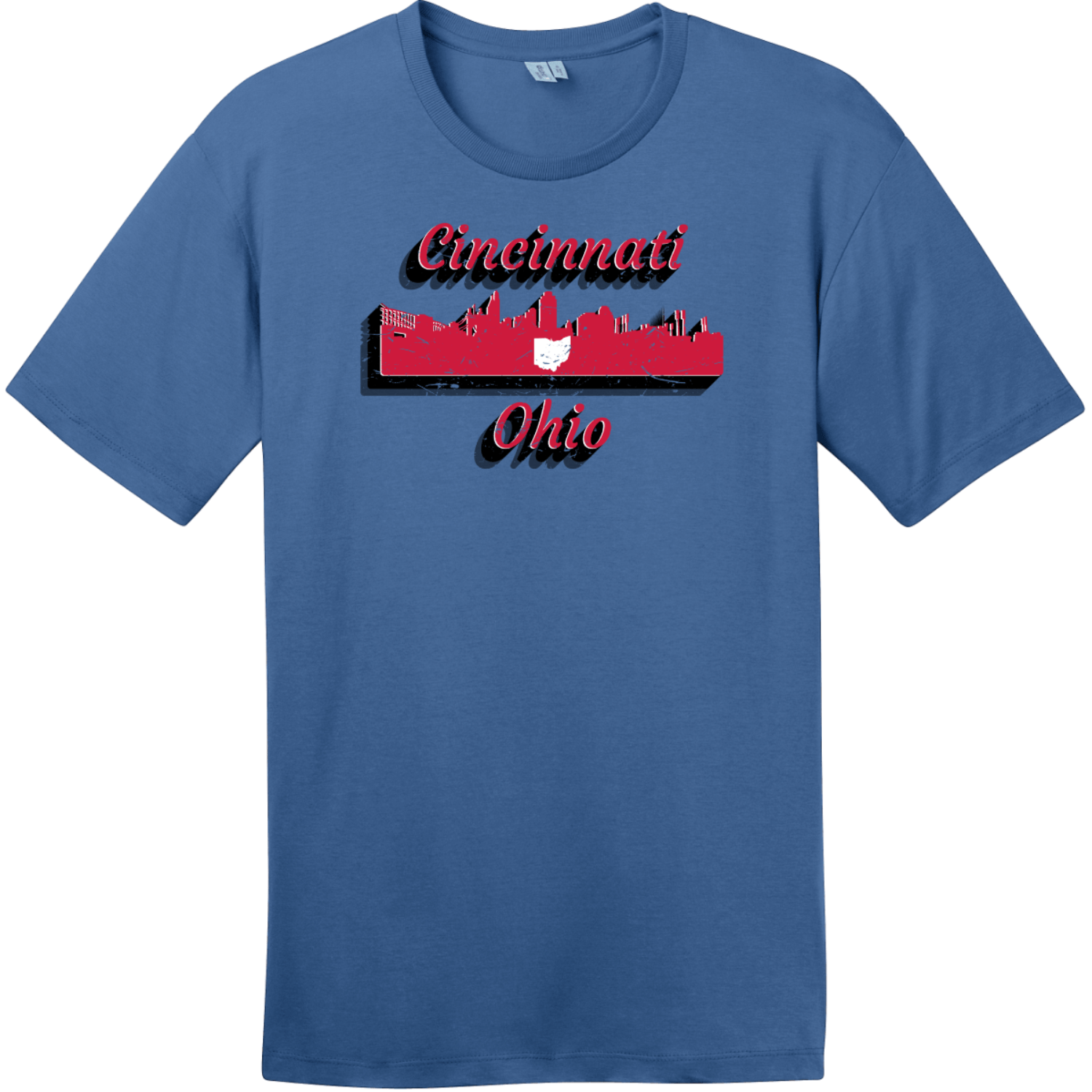 Cincinnati Ohio Skyline Retro T-Shirt Maritime Blue District Perfect Weight Tee DT104