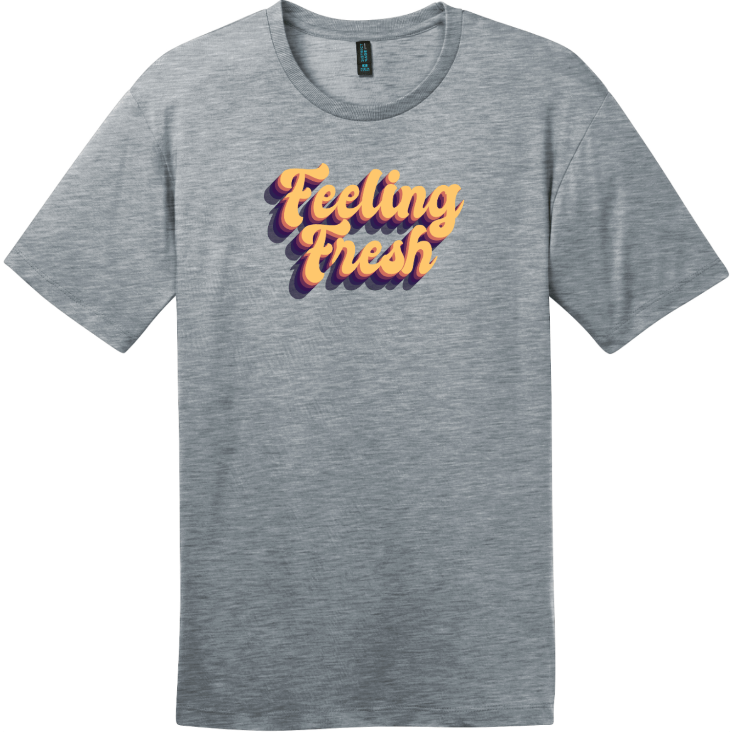 Feeling Fresh Retro T-Shirt Heathered Steel District Perfect Weight Tee DT104