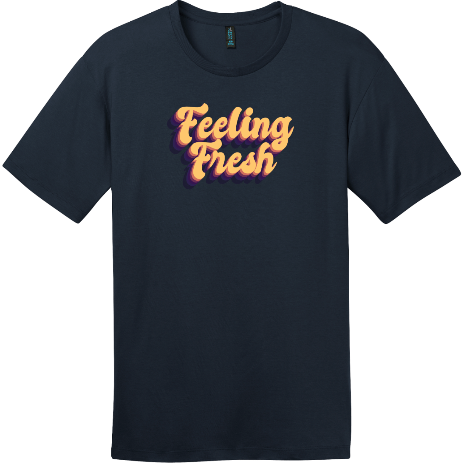 Feeling Fresh Retro T-Shirt New Navy District Perfect Weight Tee DT104