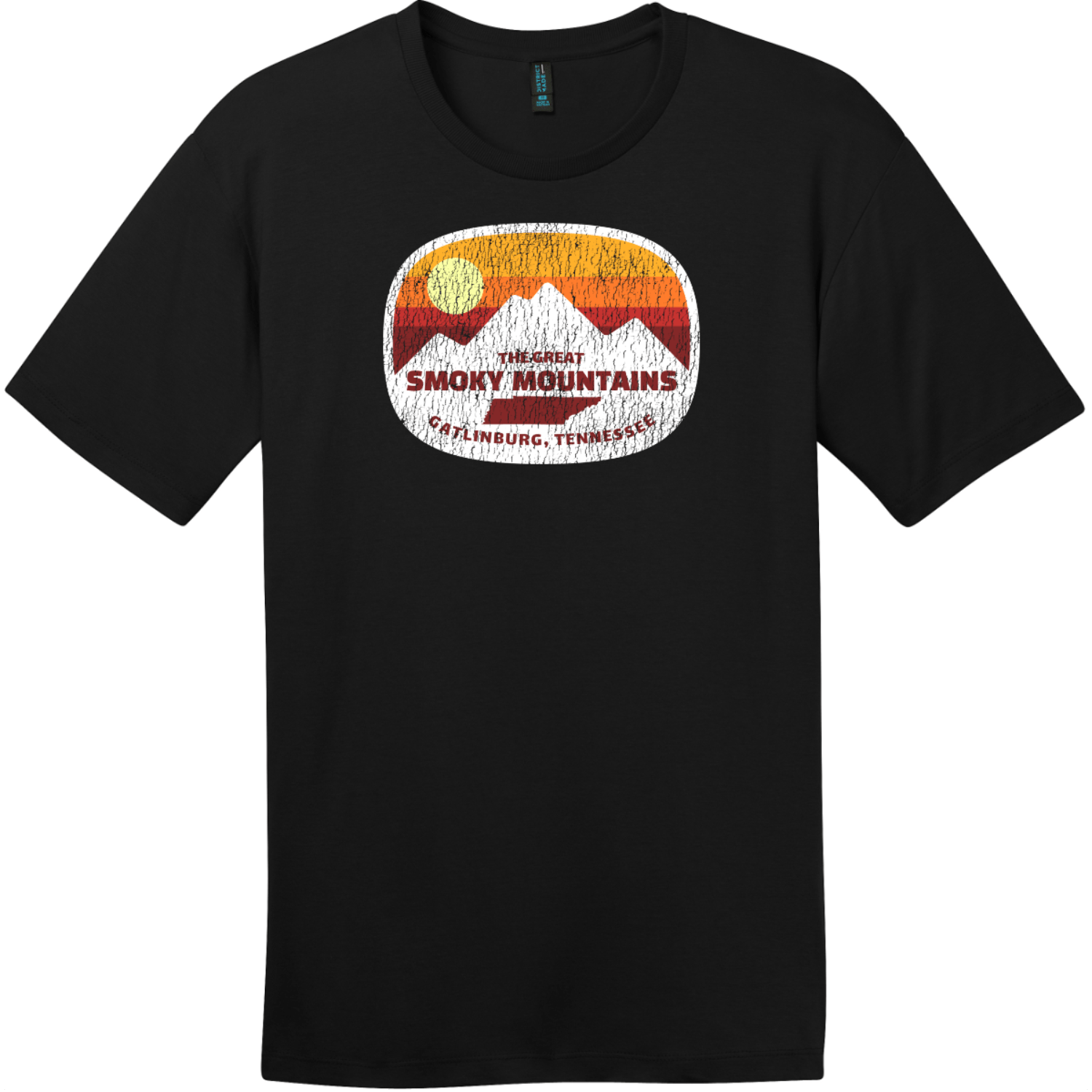 Gatlinburg Smoky Mountains Tennessee T-Shirt Jet Black District Perfect Weight Tee DT104