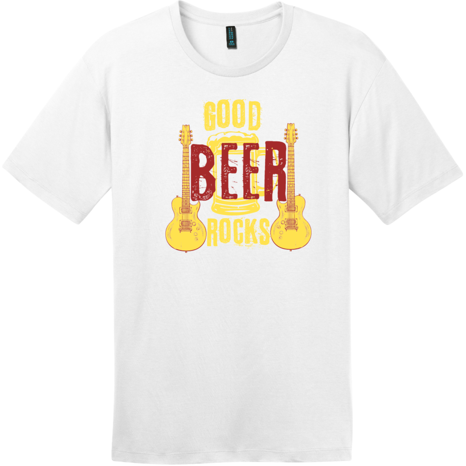 Good Beer Rocks Guitar T-Shirt Bright White District Perfect Weight Tee DT104