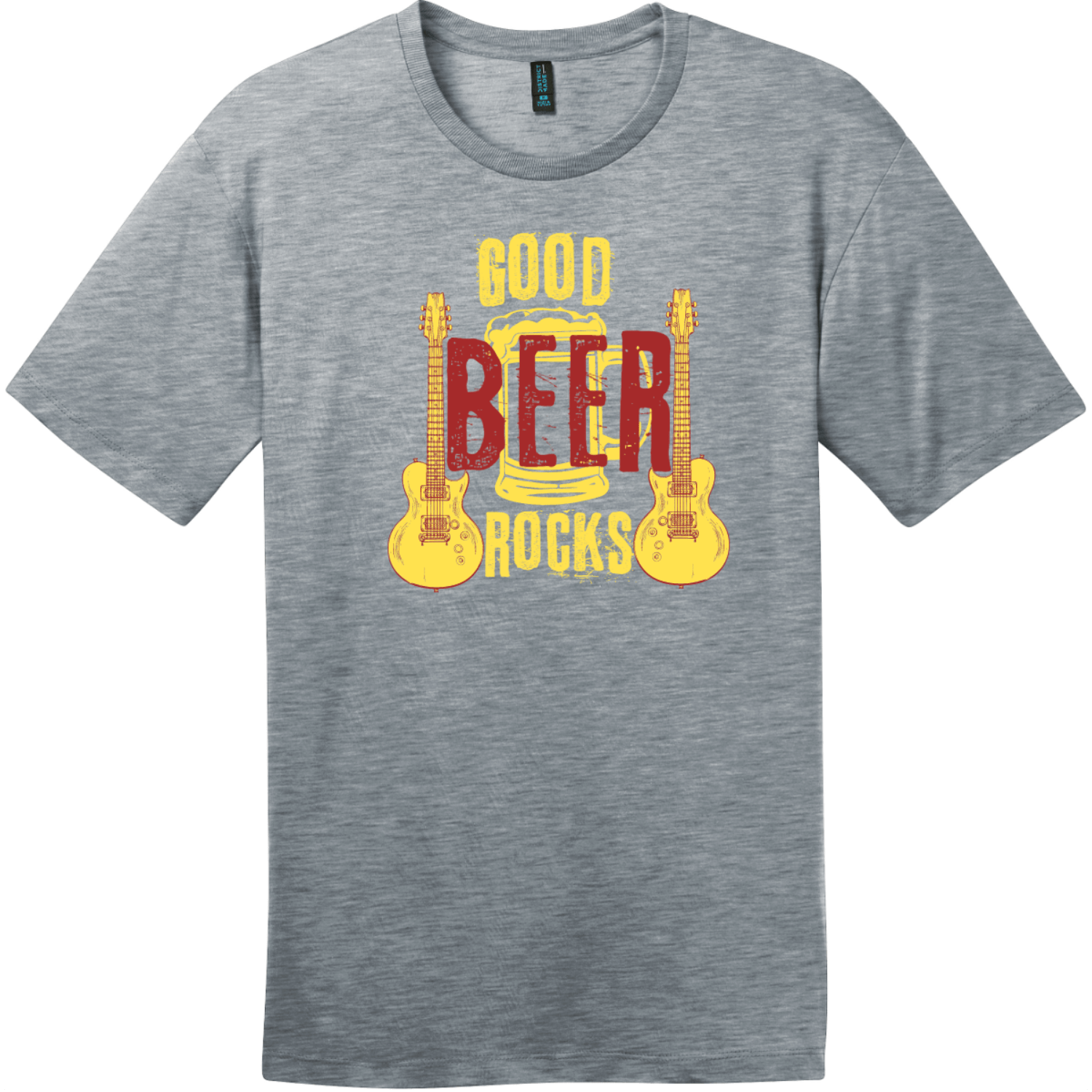 Good Beer Rocks Guitar T-Shirt Heathered Steel District Perfect Weight Tee DT104