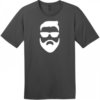 Hipster Beard And Sunglasses T-Shirt Charcoal District Perfect Weight Tee DT104