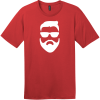 Hipster Beard And Sunglasses T-Shirt Classic Red District Perfect Weight Tee DT104