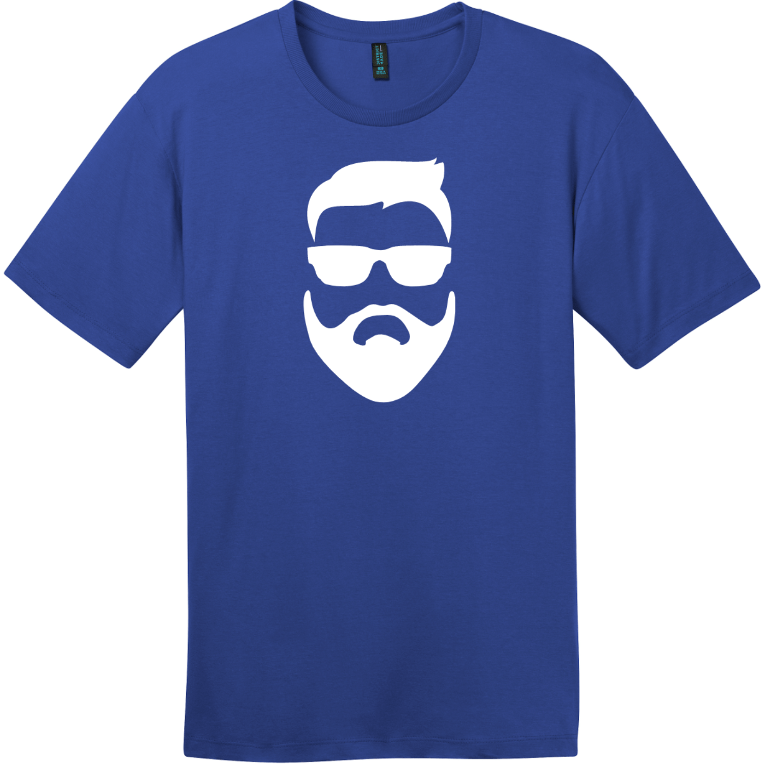 Hipster Beard And Sunglasses T-Shirt Deep Royal District Perfect Weight Tee DT104