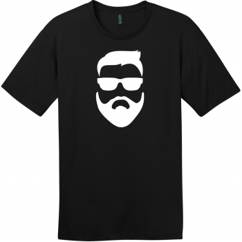 Hipster Beard And Sunglasses T-Shirt Jet Black District Perfect Weight Tee DT104