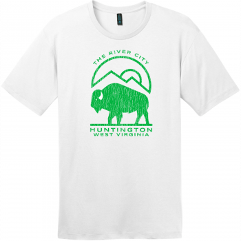 Huntington WV The River City T-Shirt Bright White District Perfect Weight Tee DT104